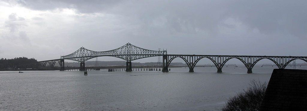 The Conde McCullough Memorial Bridge in North Bend, Oregon as seen from the east.
